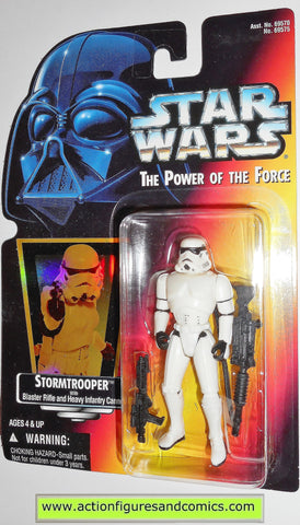 star wars action figures STORMTROOPER Red HOLOGRAM card 00 power of the force hasbro toys moc