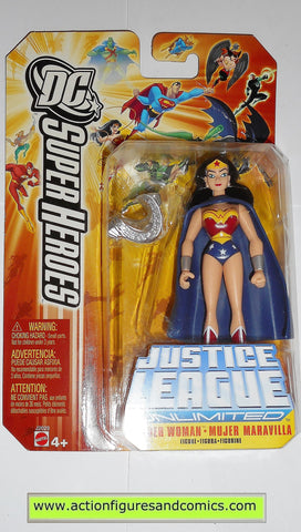 justice league unlimited WONDER WOMAN blue cape dc universe action figures mattel toys moc mip mib