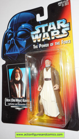 star wars action figures BEN OBI WAN KENOBI 1995 short saber .01 red card power of the force toys moc