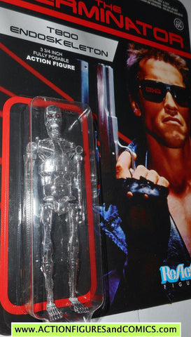 Reaction figures Terminator T800 ENDOSKELETON chrome Arnold Swartzenegger movie funko toys action moc mip mib