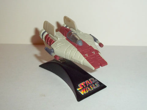star wars titanium A-WING fighter red complete