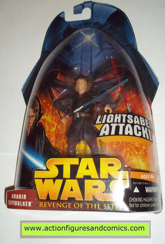 star wars action figures ANAKIN SKYWALKER lightsaber attack 2 2005 revenge of the sith hasbro toys moc mip mib