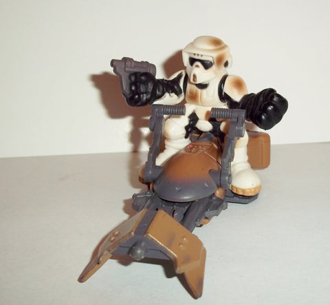 STAR WARS galactic heroes BIKER SCOUT with SPEEDER BIKE muddy variant complete hasbro