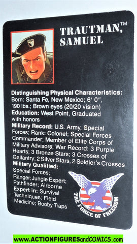 RAMBO action figures COLONEL TRAUTMAN vintage file card 1986 force of freedom