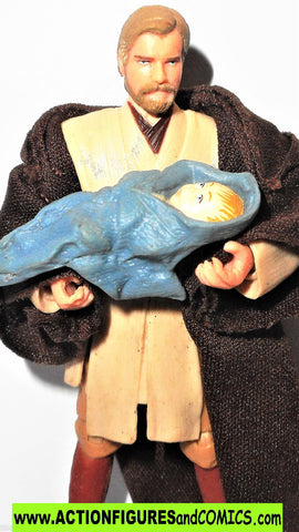 star wars action figures OBI WAN KENBOI with BABY LUKE infant BLUE comic pack