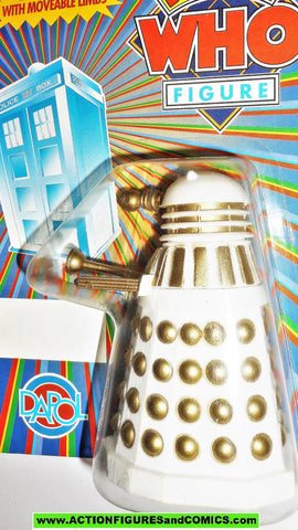 doctor who action figures DALEK dapol UNPUNCHED CARD white gold Vintage moc