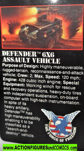 RAMBO action figures DEFENDER 6X6 assault vehicle vintage file card 1986