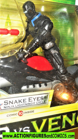 gi joe SNAKE EYES ninja lightning cycle 2004 valor vs venom 2005 moc