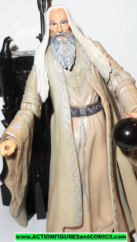 Lord of the Rings SARUMAN the WHITE Floating Palantir base toy biz complete hobbit