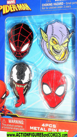 Marvel SPIDER-MAN 4 PCS METAL PIN SET venom green goblin moc mib
