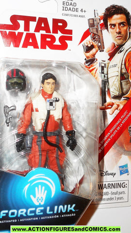 star wars action figures POE DAMERON resistance pilot x-wing force link 2017