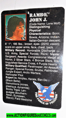 RAMBO action figures JOHN RAMBO vintage file card 1986 force of freedom