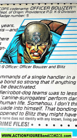 Cops 'n Crooks BOWZER & BLITZ dog crime files FILE CARD vintage 1988 C.o.p.s.