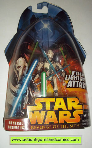 star wars action figures GENERAL GRIEVOUS four lightsaber attack 9 2005 revenge of the sith hasbro toys moc mip mib