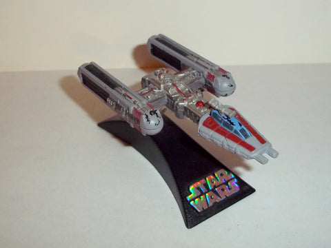star wars titanium Y-WING silver red raw metal exclusive complete