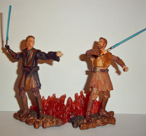 star wars action figures ANAKIN SKYWALKER & OBI WAN KENOBI mustafar duel