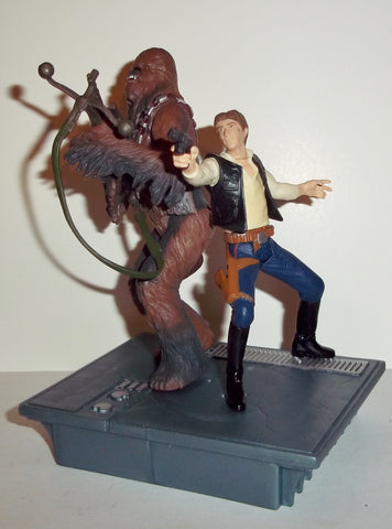 star wars action figures HAN SOLO & CHEWBACCA death star escape power of the jedi 2000 2001 25th anniversary