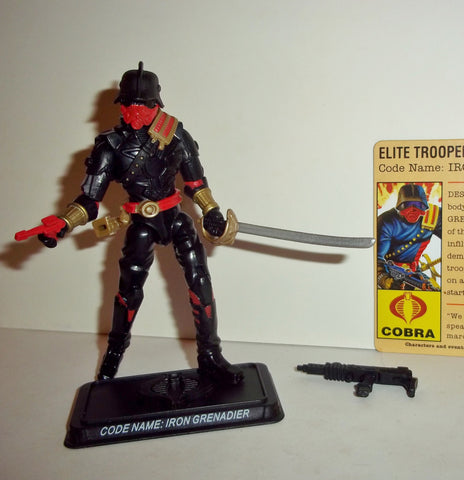 gi joe IRON GRENADIER 2008 v6 red pistol 25th anniversary complete with file card
