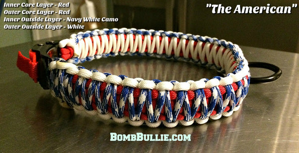 The American - BombBullie Paracord Dog Collar