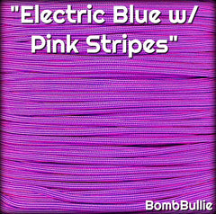 Electric Blue with Pink Stripes Paracord
