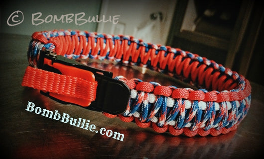 Paracord Adjustable Dog Collar - King Cobra Knot - BombBullie  - 1