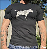 Bull Terrier Body of Words T-Shirt - White Logo on Black Shirt