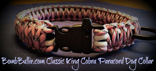 Paracord Classic Dog Collar - King Cobra Knot - BombBullie  - 1