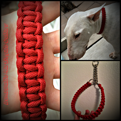 Personalized Cobra Knot Paracord Dog Leash & Collar Bundle - BombBullie  - 1