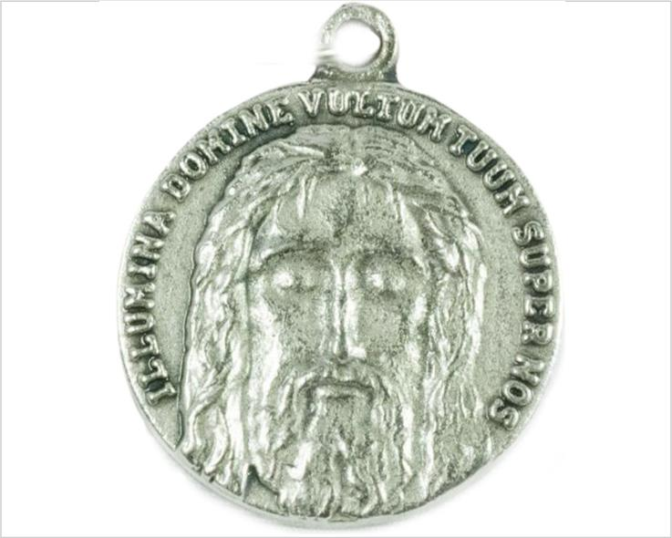 Holy Face of Jesus medal, silver pewter round