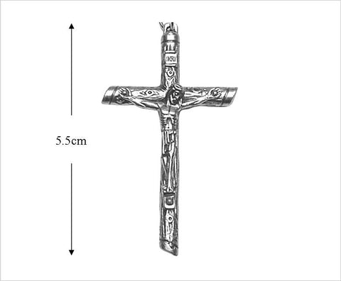 Large Pewter Crucifix, Wood-grain Finish, Pendant or Rosary