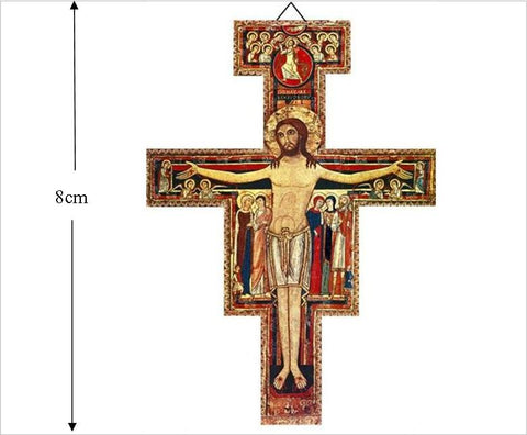 Wood San Damiano Cross, 8cm Cross of Assisi