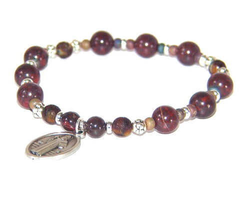 St Benedict Men's Bracelet, Christian Prayer Bracelet