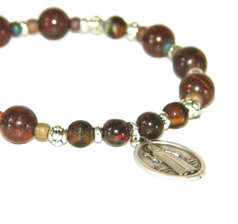 Stretch Catholic bracelet, patron saint chaplet