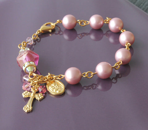Anglican rosary bracelet, wrist rosary, pink pearls for girl