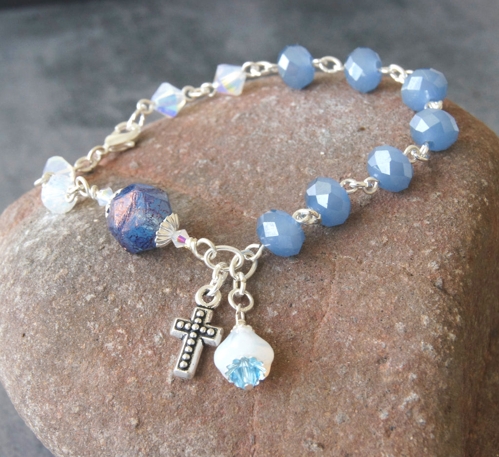 Anglican rosary bracelet, blue crystal beads, cross charm