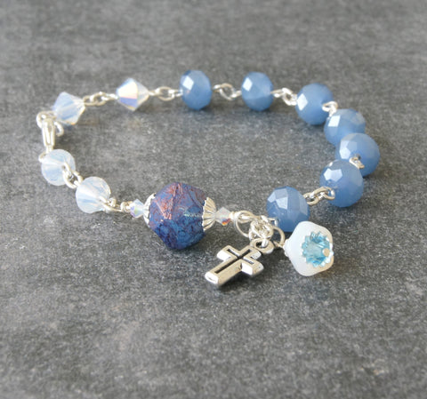 Christian jewellery, wrist rosary blue, handmade in New Zealand