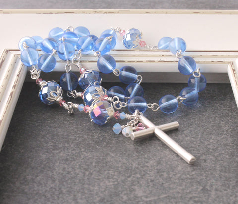 Anglican or Christian Rosary, Blue Czech Glass Beads
