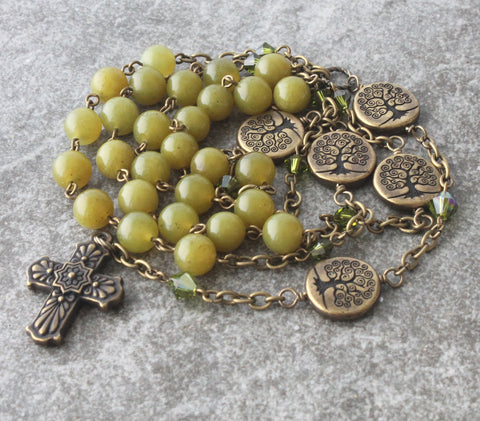 Christian Prayer Beads, Tree of Life - Jade Anglican Rosary