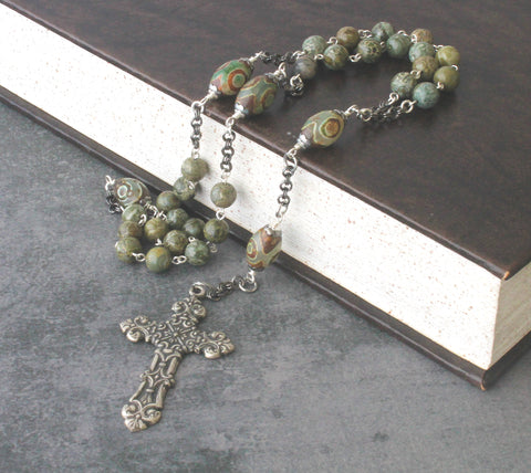Christian rosary, green stone, handmade New Zealand prayer beads