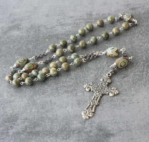 Christian Rosary Prayer Beads, Agate & Jasper