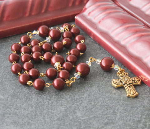Anglican Rosary, Burgundy Swarovski Pearl Christian Prayer Beads