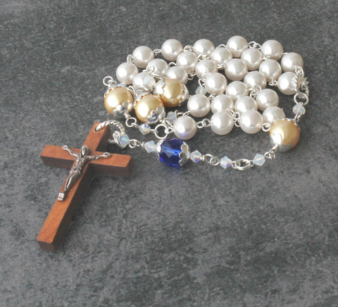 Anglican Christian Rosary, Swarovski Pearls, Olive Wood Cross