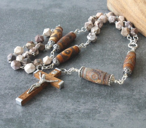 Man's Anglican Rosary, Large Size, Rustic Agate Beads