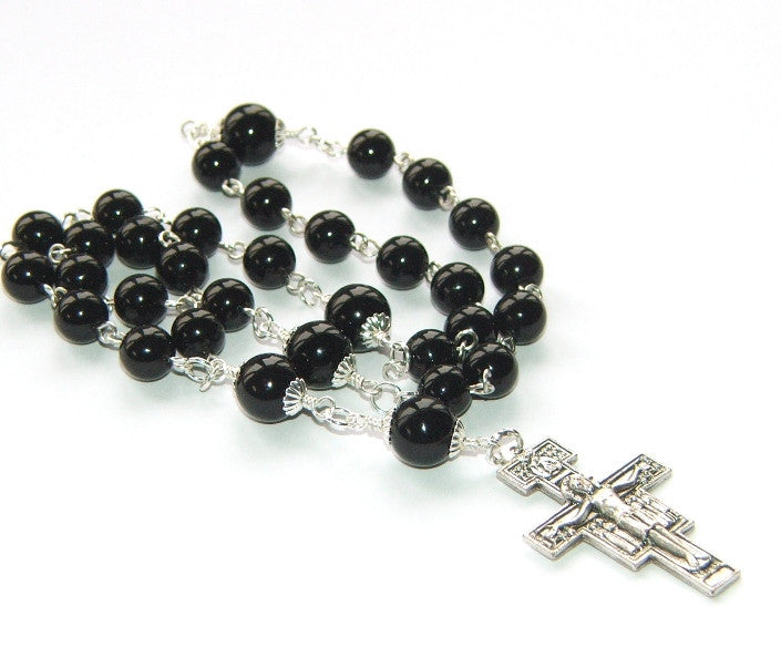 Anglican rosary, black onyx beads