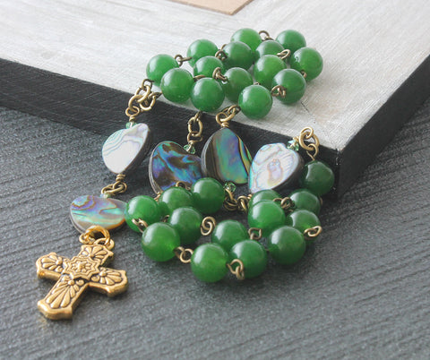 Christian Protestant rosary beads, handmade green jade and abalone shell
