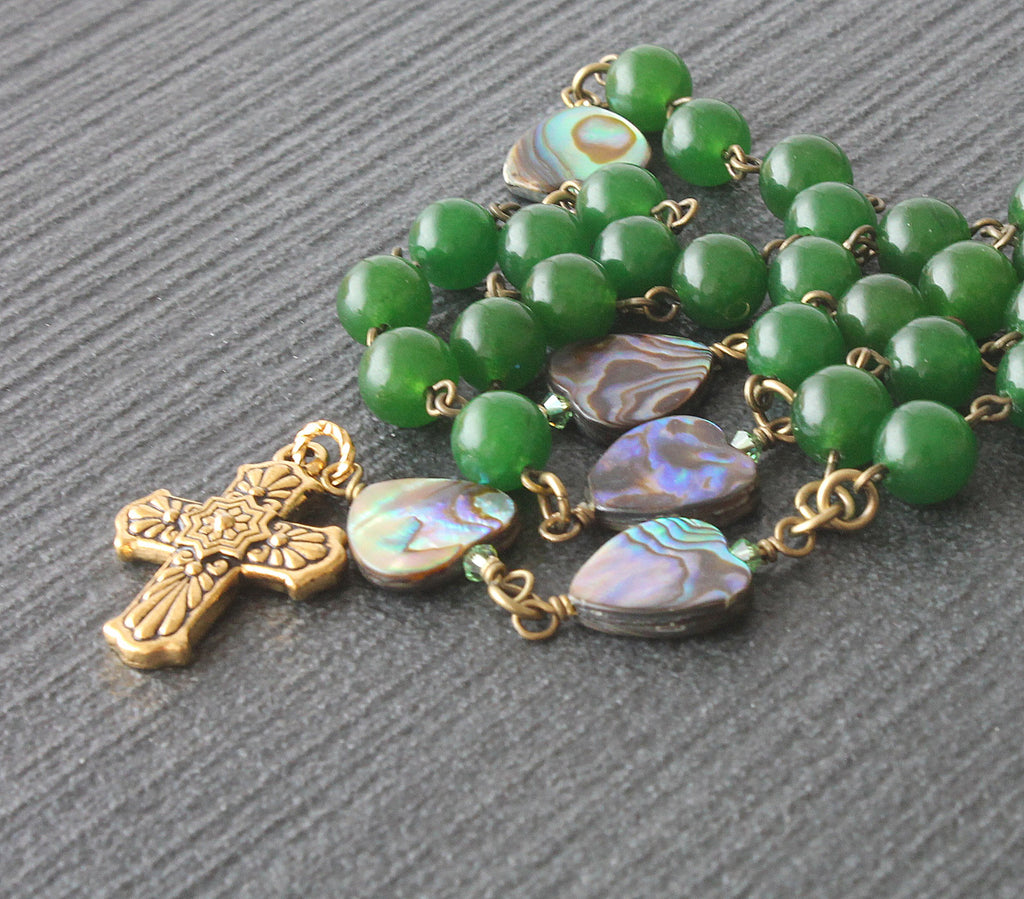 Anglican rosary greenstone paua shell, handmade New Zealand