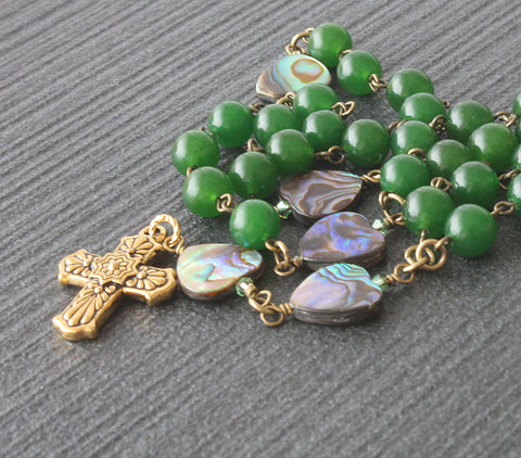 Anglican Rosary Beads, Greenstone & Paua Shell Beads