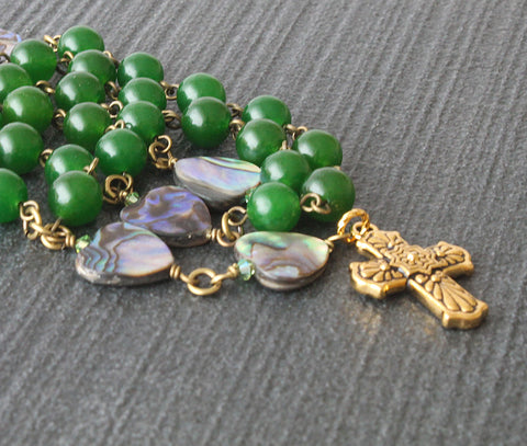 Anglican Christian rosary, green and gold, New Zealand shop