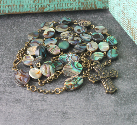 Paua shell Anglican rosary, handmade in New Zealand