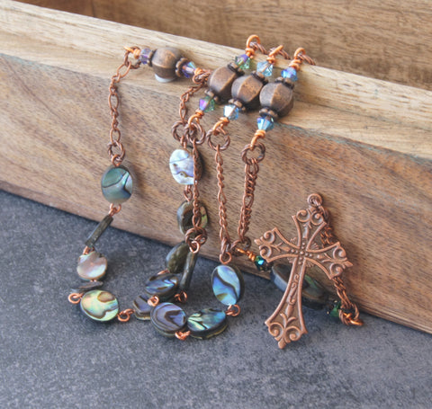 Paua Shell Copper Anglican Rosary Necklace